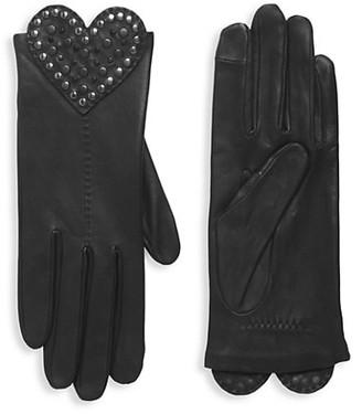 Agnelle Studded Heart Leather Gloves