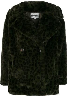 Apparis faux-fur button coat
