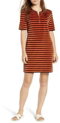 Scotch & Soda Striped Short Sleeve Velour Dress