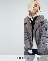 Puffa Oversized Longline Bomber Jacket With Faux Shearling Shawl Collar