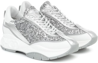 Jimmy Choo Raine glitter and leather sneakers
