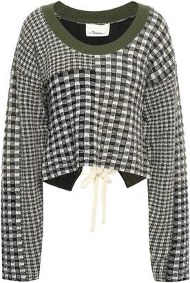 3.1 Phillip Lim Lace-up Patchwork-effect Jacquard-knit Sweater