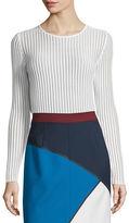 Escada Long-Sleeve Needle-Drop Pullover Top W/Cami, White