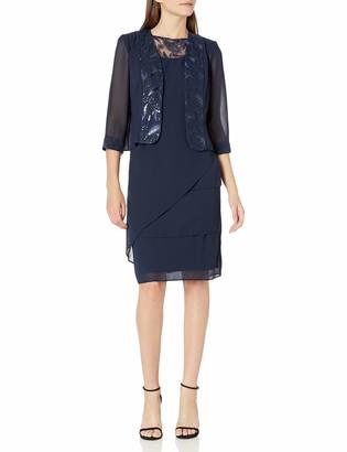 Le Bos Women's Embellished Trim Asymmetrical Tiered Jacket Dress
