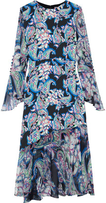 Prabal Gurung Printed Chiffon-paneled Silk-crepe Midi Dress