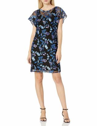 Adrianna Papell Women's Floral Flutter Sleeve Shift Dress