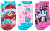 Pink Cookie Girls 4-16 3-pk. Cat With Gifts Holiday Low-Cut Socks