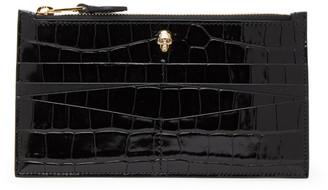 Alexander McQueen Black Croc Flat Zip Wallet