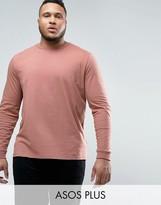 Asos PLUS Longline Long Sleeve T-Shirt In Pink
