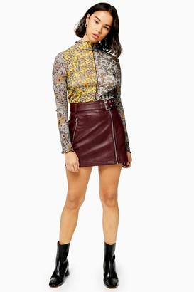 Topshop Womens Petite Burgundy Faux Leather Pu Hardware Mini Skirt - Burgundy