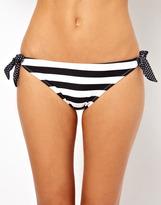 Marie Meili Stripe And Spot Mix Tie Side Bikini Bottom