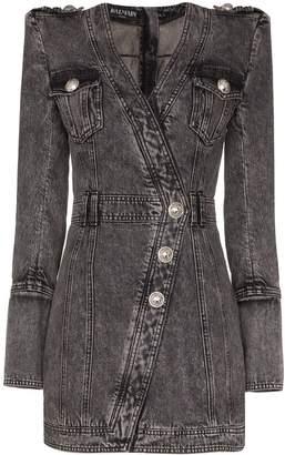Balmain wrap style button-up denim dress