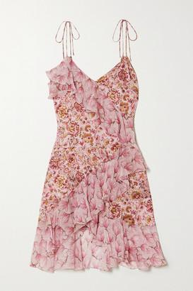 Raquel Diniz Stella Asymmetric Ruffled Floral-print Silk-satin And Chiffon Mini Dress - Pink