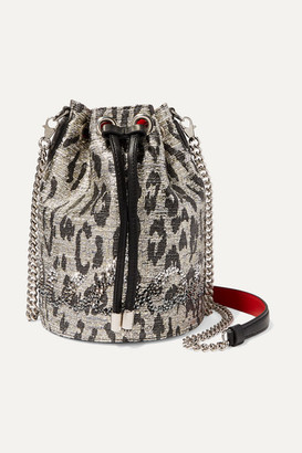 Christian Louboutin Marie Jane Leather-trimmed Crystal-embellished Metallic Tweed Bucket Bag - Silver