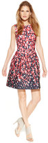 Calvin Klein Petite Printed Scuba Fit & Flare Dress
