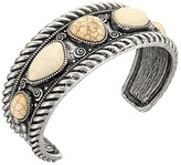M&F Western Rope Edge with Ivory Stone Cuff Bracelet (Silver) Bracelet