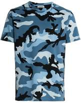 Valentino blue camouflage print short sleeve cotton t shirt
