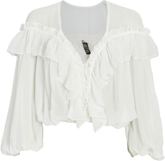 Night Night By Jonathan Simkhai Ruffled Chiffon Blouse