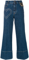 Stella McCartney stud detail cropped flare jeans - women - Cotton/Acrylic/Polyester/Metallic Fibre - 26