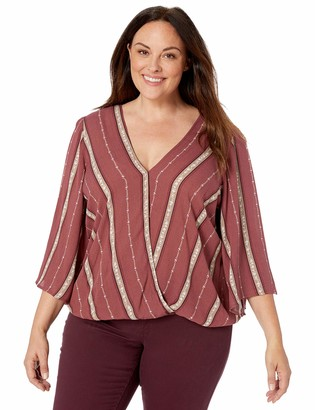 City Chic Women's Apparel Women's Plus Size Striped Elasticated Hem Cross Over top