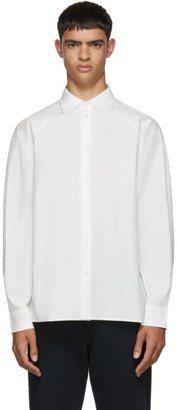 Random Identities White Raglan Sleeve Button Up Shirt