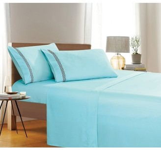 Elegant Comfort Holiday Gift 4 PC Sheet set Bedding Set Queen Aqua Blue