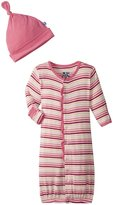 Kickee Pants Converter Gown and Knot Hat (Baby) - Forest Stripe - 0-3 Months