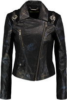 Versace Jersey-Paneled Printed Faux Leather Jacket