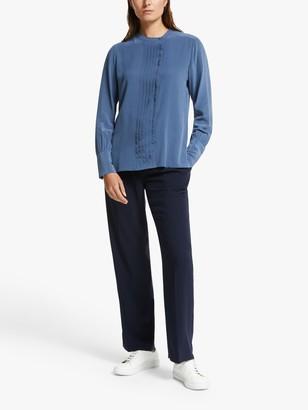 Modern Rarity Pleat Front Silk Shirt, Dusty Blue