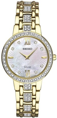 Seiko Womens Goldtone Crystal-Accented Mother-of-Pearl Dial Watch