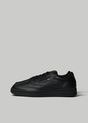 Reebok Men's Club C 85 Sneaker in Black/Charcoal Leather/Rubber