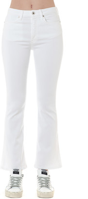 Dondup White Cotton Bell-bottom Jeans
