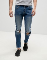Hero's Heroine Heros Heroine Skinny Fit Jeans In Blue With Raw Hem