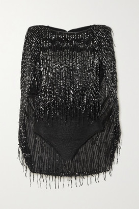 Talbot Runhof Tadashi Cape-effect Sequin-embellished Glittered Stretch-knit Bodysuit - Black