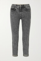 Thumbnail for your product : Stella McCartney + Net Sustain Embroidered Organic Mid-rise Slim-leg Jeans