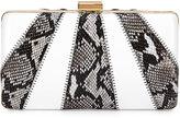 Franchi Collection Jen Snake-Embossed Evening Clutch Bag, Natural/White