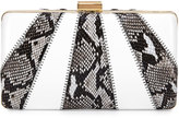Franchi Jen Snake-Embossed Evening Clutch Bag, Natural/White