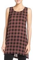 Eileen Fisher Scoop Neck Plaid Print Silk Tunic (Regular & Petite)