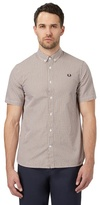 Fred Perry Yellow Basket Weave Print Regular Fit Shirt