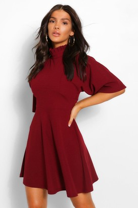 boohoo High Neck Panelled Skater Dress