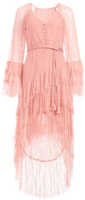Alice + Olivia Onica High-Low Ruffle Lace Dress