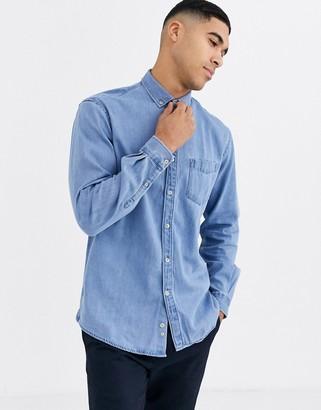 Celio denim shirt in light wash-Blue