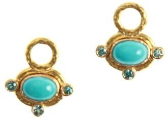 Elizabeth Locke 19K Yellow Gold, Sleeping Beauty Turquoise & Blue Zircon Earrings