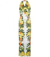HALTERNECK DRESS WITH CITRUS FRUIT PRINT