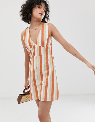 Wild Honey sleeveless tea dress in retro stripe