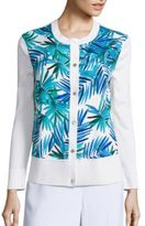 St. John Palm Leaf Printed Cardigan