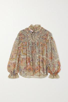Etro Ruffled Paisley-print Silk-chiffon Blouse - Beige