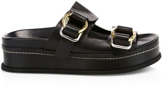 3.1 Phillip Lim Freida Buckle Leather Flatform Sandals