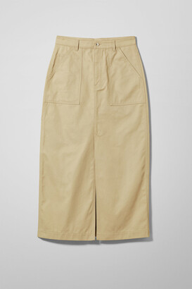 Weekday Emer Workwear Skirt - Beige