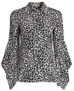 Michael Kors Women's Asymmetric Sleeve Silk Blouse